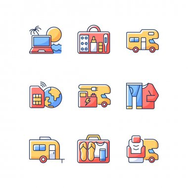 Travel RGB color icons set. Recreational vehicle. Campground for RV. Roadtrip gear. Nomadic lifestyle. Camping trip necessities for traveler. Summer vacation. Isolated vector illustrations icon