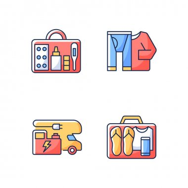 Traveler things for vacation RGB color icons set. Trailer electricity generator. Thermal wear. First aid kit. Minimalist mindset. Roadtrip gear. Nomadic lifestyle. Isolated vector illustrations icon