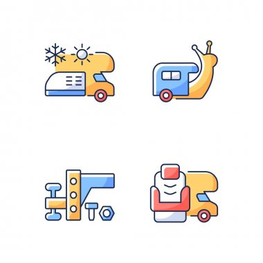 Recreational vehicle RGB color icons set. Slow travel. Air conditioning and heating. Towing gear. Furniture for van. Nomadic lifestyle. Camping trip necessities. Isolated vector illustrations icon