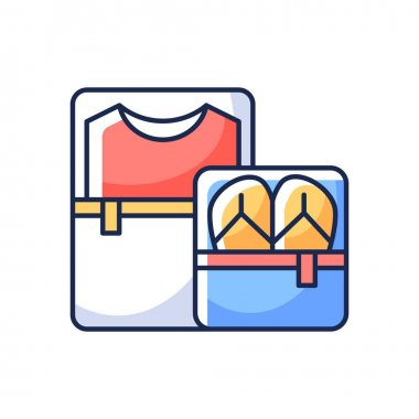 Packing cubes RGB color icon. Containers with zippers. Pack clothes in luggage. Roadtrip gear. Nomadic lifestyle. Camping trip baggage for traveler. Summer vacation. Isolated vector illustration icon
