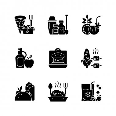 Pickup and delivery option black glyph icons set on white space. Pizza, pasta. Cocktail kits. Pina colada. Cider, apple juice. Sandwiches, burgers. Silhouette symbols. Vector isolated illustration icon