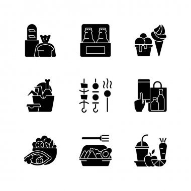Pickup and delivery option black glyph icons set on white space. Bakery products. Beer. Ice cream. Chicken wings and legs bucket. Shish kebabs. Silhouette symbols. Vector isolated illustration icon