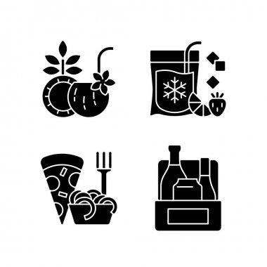 Pickup and delivery option black glyph icons set on white space. Coconut cocktail. Frozen beverage. Pizza and pasta. Alcoholic drinks. Pina colada. Silhouette symbols. Vector isolated illustration icon