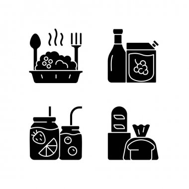 Takeaway and delivery option black glyph icons set on white space. Porridge bowl. Red and white wine. Fruit-infused water bottle. Fresh bread. Silhouette symbols. Vector isolated illustration icon