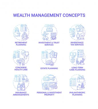 Wealth management concept icons set. Financial planning idea thin line RGB color illustrations. Insurance arrangements. Investment property. Long-term care planning. Vector isolated outline drawings icon