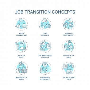 Job transition concept icons set. Career change advices idea thin line RGB color illustrations. How be successful. Upgrade your skills. Vector isolated outline drawings. Editable stroke icon