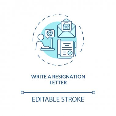 Write a resignation letter concept icon. Notice your employer idea thin line illustration. Explain transition reason. Send email. Vector isolated outline RGB color drawing. Editable stroke icon