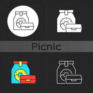 Take away food dark theme icon. Packaging designs. Meal storage. Eco-friendly, biodegradable bag. Outdoor summer lunches. Linear white, simple glyph and RGB color styles. Isolated vector illustrations icon