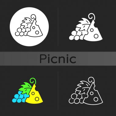 Cheese and grapes dark theme icon. Pairing fruit and cheese. Sweetness and saltiness combination. Companion for wines. Linear white, simple glyph and RGB color styles. Isolated vector illustrations icon