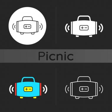 Wireless loudspeaker dark theme icon. Streaming music. Portability. Outdoor gatherings. Radio waves. Audio quality. Linear white, simple glyph and RGB color styles. Isolated vector illustrations icon