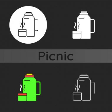 Vacuum flask dark theme icon. Keeping coffee and tea hot. Thermos flask. Leak-proof mug. Heat leaving prevention. Linear white, simple glyph and RGB color styles. Isolated vector illustrations icon