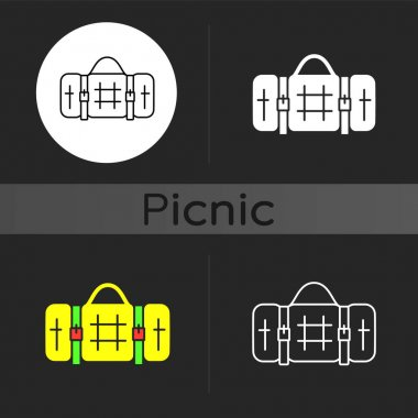 Picnic blanket dark theme icon. Houseware item. Cloth napkin. Backpacking trip. Laying on ground for picnicking, camping. Linear white, simple glyph and RGB color styles. Isolated vector illustrations icon