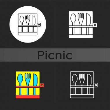 Picnic cutlery dark theme icon. Knives, spoons and forks. Eco-friendly, biodegradable items for outdoor lunch. Linear white, simple glyph and RGB color styles. Isolated vector illustrations icon