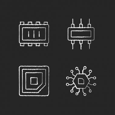 Microcircuits chalk white icons set on black background. Cpu corner marking for placing device. Electronic parts creation. Isolated vector chalkboard illustrations icon