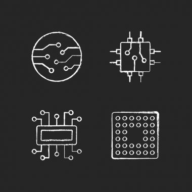 Microcircuits chalk white icons set on black background. Cpu computer socket types. Circuit board components creation process. Isolated vector chalkboard illustrations icon
