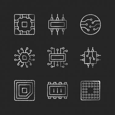 Microcircuits chalk white icons set on black background. Computer device circuit boards design creation. Modern microchips. Isolated vector chalkboard illustrations icon