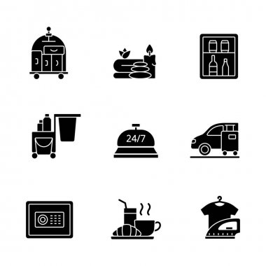 Hotel services black glyph icons set on white space. Porter service for helping customers to transfer their bags. Car parking for visitors. Silhouette symbols. Vector isolated illustration icon