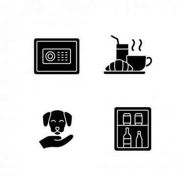 Hotel services black glyph icons set on white space. Minibar is small refrigeratorplaced in customer hotel rooms. Safe for storing cash and items. Silhouette symbols. Vector isolated illustration icon