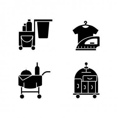 Hotel services black glyph icons set on white space. Pet friendly hotels for visiting with animals. Modern types of hotels which have all features. Silhouette symbols. Vector isolated illustration icon