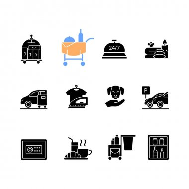 Hotel services black glyph icons set on white space. Room service for hotel visitors to choose what to eat. Cleaning service to keep rooms clean. Silhouette symbols. Vector isolated illustration icon