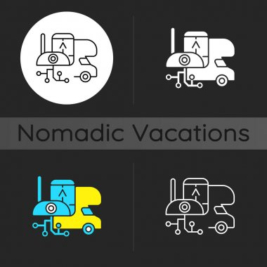 RV electronics dark theme icon. Gadgets for trailer, devices for vehicle. Camping trip necessities for traveler. Linear white, simple glyph and RGB color styles. Isolated vector illustrations icon