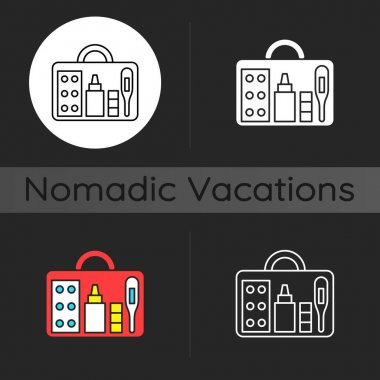 Small first aid kit dark theme icon. Health care emergency bag. Roadtrip gear. Camping trip necessities for traveler. Linear white, simple glyph and RGB color styles. Isolated vector illustrations icon