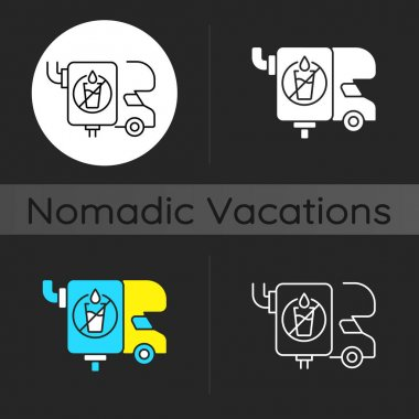 RV wastewater tanks dark theme icon. Freshwater holding container for recreational vehicle. Roadtrip gear. Linear white, simple glyph and RGB color styles. Isolated vector illustrations icon
