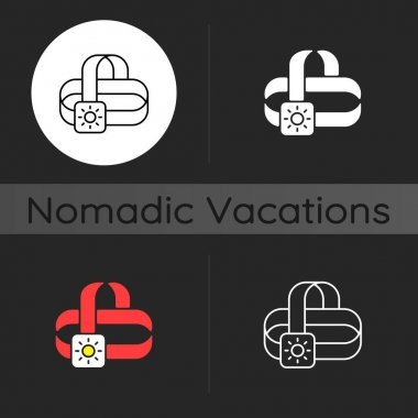 Travel headlamp dark theme icon. Head lantern. Electrical torch. Camping necessities for traveler. Illumination for road. Linear white, simple glyph and RGB color styles. Isolated vector illustrations icon