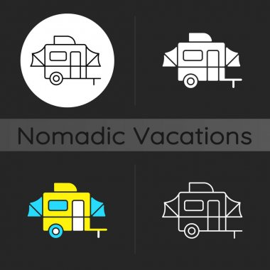 Pop up camper dark theme icon. Campground for tourist to rest. Recreational vehicle. Nomadic lifestyle. Summer vacation. Linear white, simple glyph and RGB color styles. Isolated vector illustrations icon