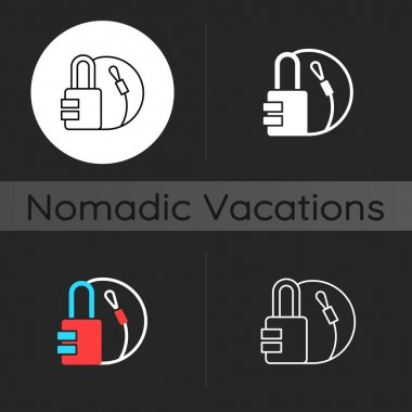 Travel padlock dark theme icon. Safe lock for luggage and suitcases. Combination key for bags. Nomadic lifestyle. Linear white, simple glyph and RGB color styles. Isolated vector illustrations icon