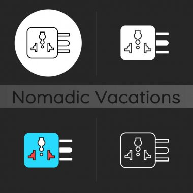 Travel adapter dark theme icon. International plug. Global sta ndard outlet. Camping trip necessities for traveler. Linear white, simple glyph and RGB color styles. Isolated vector illustrations icon