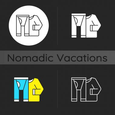 Thermal underwear dark theme icon. Sportswear and thermo clothing. Leggins and shirt for tourist. Nomadic lifestyle. Linear white, simple glyph and RGB color styles. Isolated vector illustrations icon