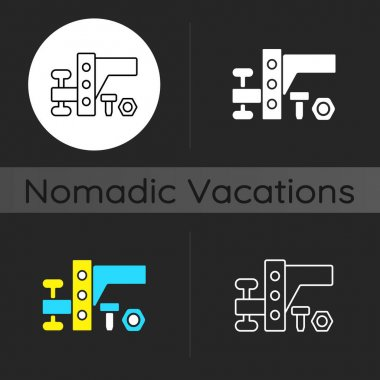 Trailer towing equipment dark theme icon. Van mechanism. Car transmission. Automobile tools for nomadic lifestyle. Linear white, simple glyph and RGB color styles. Isolated vector illustrations icon