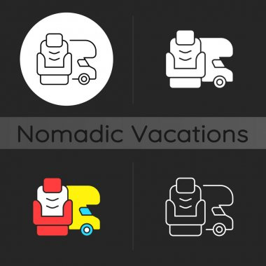RV furniture dark theme icon. Seating for trailer. Recliner for van. Nomadic lifestyle. Camping trip necessities. Linear white, simple glyph and RGB color styles. Isolated vector illustrations icon