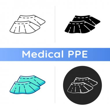 Shoe covers icon. Sterile footwear. Protective wear from contamination. Prevent dirt on foot. Quarantine safety. Disposable PPE. Linear black and RGB color styles. Isolated vector illustrations icon