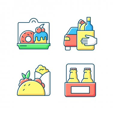 Pickup and delivery option RGB color icons set. Cakes and desserts. Food curbside pickup. Burritos, tacos. Beer. Sweet baked food. Delivery to vehicle. Mexican cuisine. Isolated vector illustrations icon