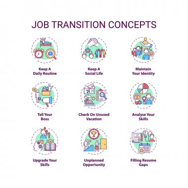 Job transition concept icons set. Job change tips idea thin line RGB color illustrations. Checklist to upgrade yourself. Analyse skills. Vector isolated outline drawings. Editable stroke icon