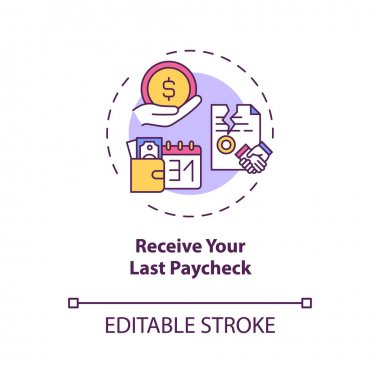 Receive your last paycheck concept icon. Get your earned money idea thin line illustration. Last resignation stage. Final salary. Vector isolated outline RGB color drawing. Editable stroke icon