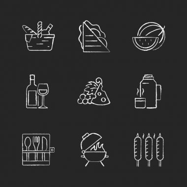 Garden party chalk white icons set on black background. Picnic basket. Sandwiches. Serving fruit. Alcoholic drink. Cheese and grapes. Thermos flask. Isolated vector chalkboard illustrations icon