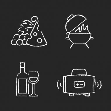 Outdoor dining chalk white icons set on black background. Pairing fruit and cheese. Bbq grill. Alcoholic drink. Streaming music. Afternoon snack. Isolated vector chalkboard illustrations icon