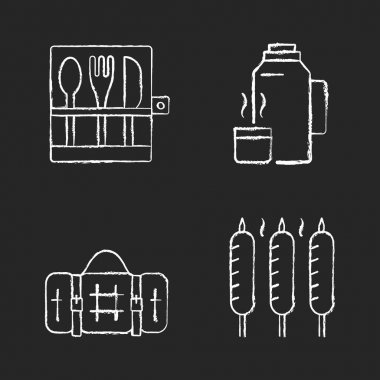 Outdoor social gathering chalk white icons set on black background. Picnic cutlery. Vacuum flask. Grilled sausages. Picnic blanket. Knives, spoons, forks. Isolated vector chalkboard illustrations icon