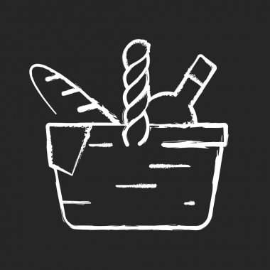 Picnic basket chalk white icon on black background. Heaving picnic hamper. Holding food and tableware. Snacks packing. Gathering family for outdoor lunch. Isolated vector chalkboard illustration icon
