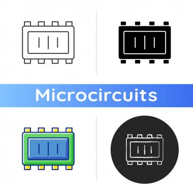 Smart microchip parts icon. Creation of small controllers for modern technologies. Electronic components. Linear black and RGB color styles. Isolated vector illustrations icon