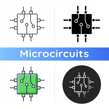 Circuit board design icon. Create plan how to place all microprocessors on circuit board connectors. Linear black and RGB color styles. Isolated vector illustrations icon