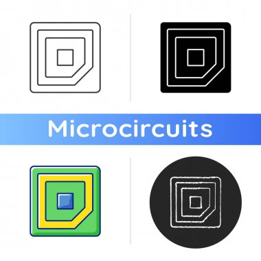 Cpu corner mark icon. Showing in which direction microchip should be placed into computer motherboard. Linear black and RGB color styles. Isolated vector illustrations icon