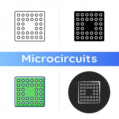Cpu socket icon. Mechanical components providing mechanical and electrical connections between processor and circuit board. Linear black and RGB color styles. Isolated vector illustrations icon