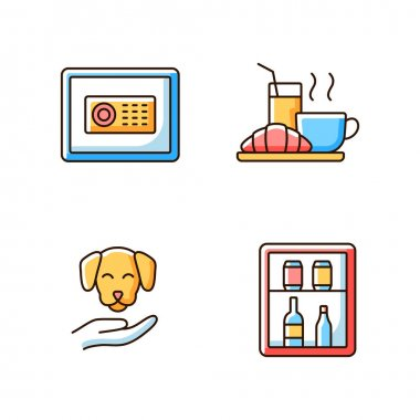 Hotel services RGB color icons set. Minibar is small refrigeratorplaced in customers hotel rooms. Safe for storing cash and items. Isolated vector illustrations icon