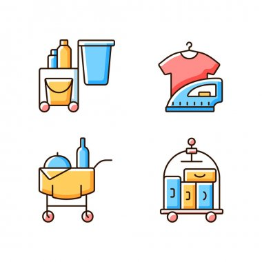 Hotel services RGB color icons set. Pet friendly hotels for visiting with animals. Modern types of hotels which have all features. Isolated vector illustrations icon