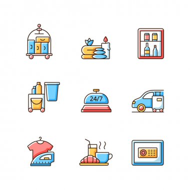 Hotel services RGB color icons set. Porter service for helping customers to transfer their bags and luggage. Car parking for visitors. Isolated vector illustrations icon