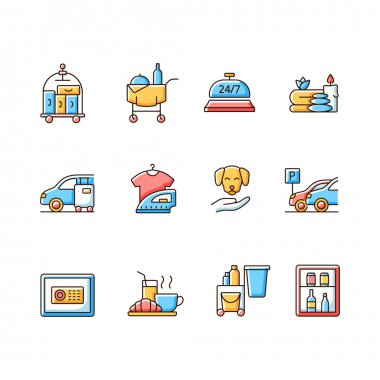 Hotel services RGB color icons set. Room service for hotel visitors to choose what to eat for lunch. Cleaning service to keep rooms clean. Isolated vector illustrations icon